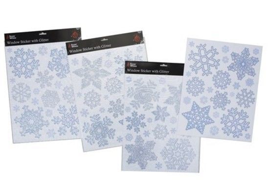 Christmas Silver and Blue Glittery Snowflake Window Stickers (PM14)