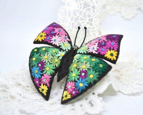 Handmade Felt Butterfly Pin Brooch in Green