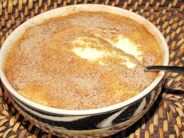 "This is called ""Melkkos"" ('n regte boere resep ) and it's basically milk with some flour, butter, salt, eggs, cinnamon and sugar and its cheap to make. This recipe has sago added. You'll just love this!"