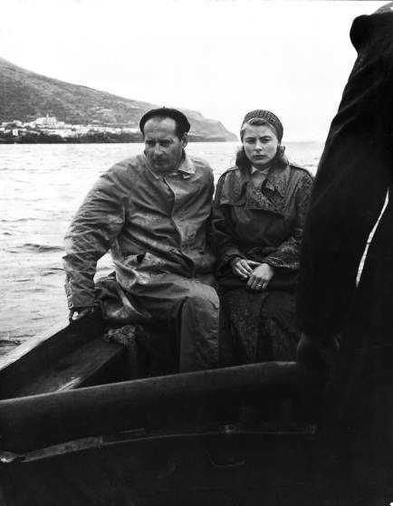 Ingrid Bergman with her lover, Roberto Rossellini, traveling in a boat from Stromboli Island to Messina to meet with her husband about getting a divorce.