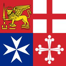 Italy's Naval Jack, coats of arms of the four major Maritime Republics. Clockwise from upper left: Venice, Genoa, Pisa, Amalfi.