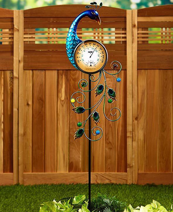 Peacock Garden Decor Thermometer Wall Art Birdbath Garden Lawn Colorful