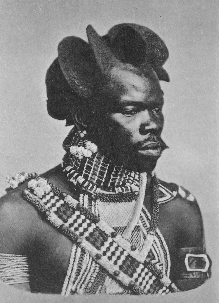 Africa | Early 1900s photography showing a Zulu man with an 'Exotic' Hairstyle