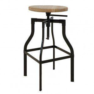 Black Industrial Timber Top Counter Stool