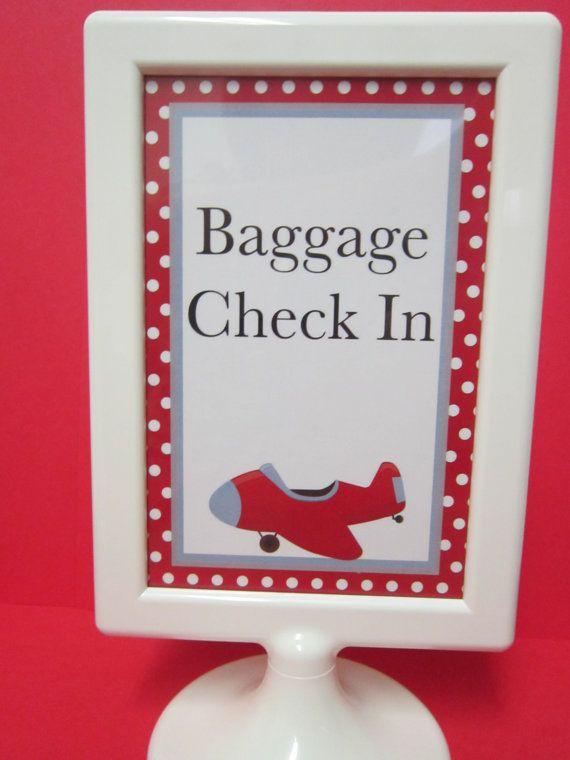 Airplane Party Baggage CheckIn sign by DKDeleKtables on Etsy, $3.00