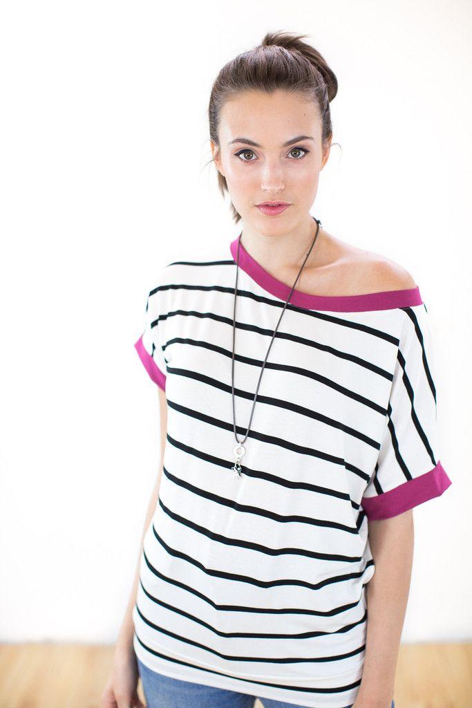 Top Oups Cream Black Stripes