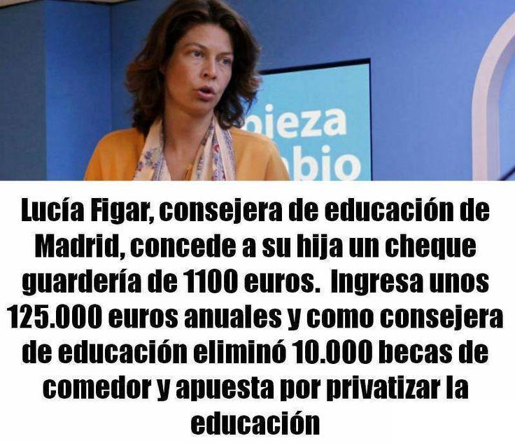 Lucía Figar concede a su hija un cheque guardería de 1100 euros, ingresando ella más de 125.00 euros anuales #LuciaFigar #corrupcion #pp #españa #spain