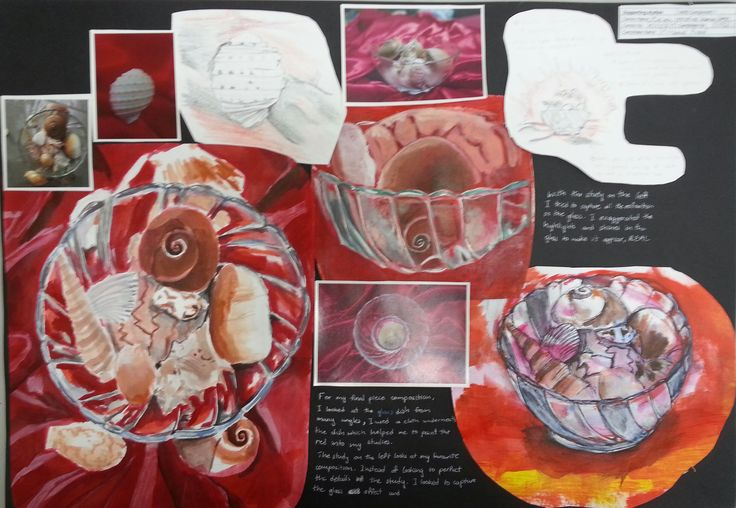 Anoof page 4 comp 1. Anoof experimented with a number of viewpoints and became interested in looking at the shells in the dish from above. He considered various grounds and was focusing on vibrant reds as a background and used satin that added interesting patterns and folds to his studies.