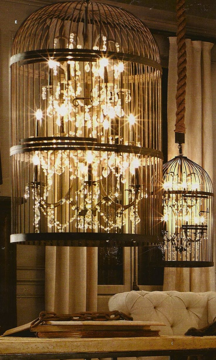 Can NOT get enough of these vintage birdcage chandeliers from Restoration Hardware.