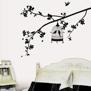 Muro Preto Gaiola Aves Árvore adesivo removível decalques Home Decor Art Vinyl