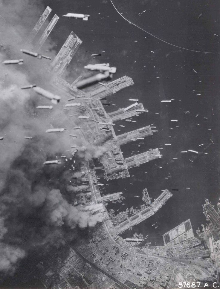 Bombs raining down on Kobe during the Second World War. The Bombing of Kobe Japan in World War II on March 16 and 17, 1945 was part of the strategic bombing campaign waged by the United States of America against military and civilian targets and population centers during the Japan home islands campaign in the closing stages of World War II.