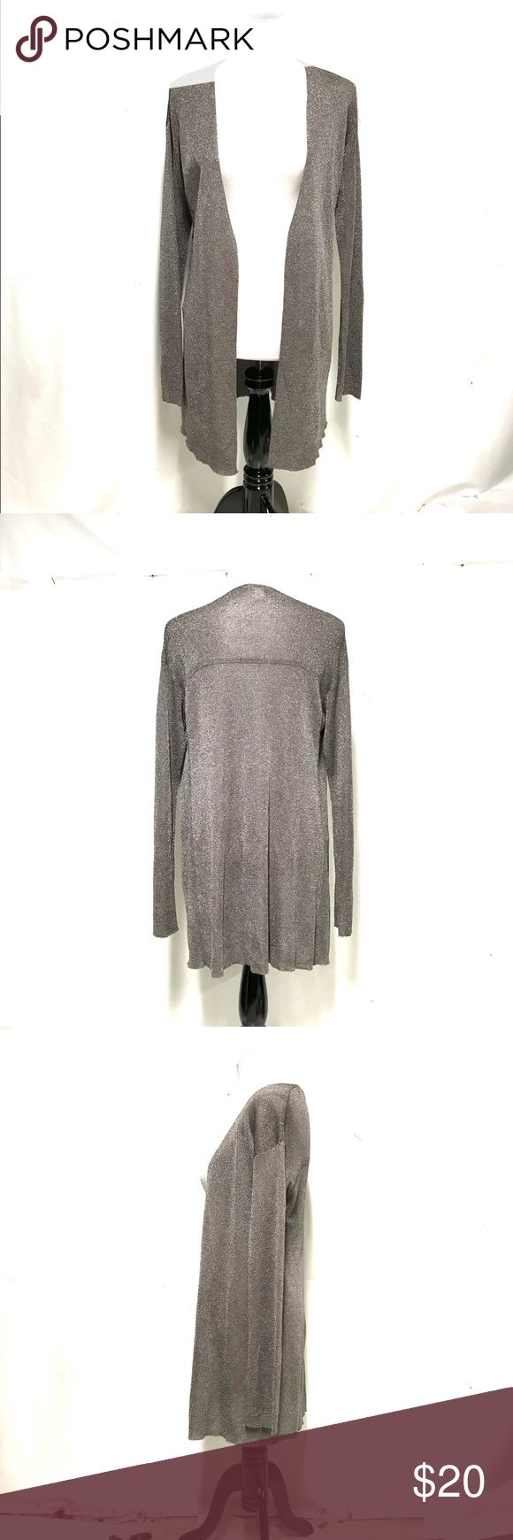 Coldwater creek long metallic cardigan To the must high. Very easy to pair, it is a pewter / silver metallic. Open front, not at all bulky.  No metallic in your  closet? This is a great jumping off point! Coldwater Creek Sweaters Cardigans