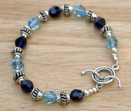 Blue Crystal Bracelet, Crystal Beaded Bracelet, Crystal and Sterling Silver Bracelet. $66.00, via Etsy.