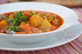 The Whole Life Nutrition Kitchen: Moroccan Chickpea and Potato Soup--sub chickpeas; add kale