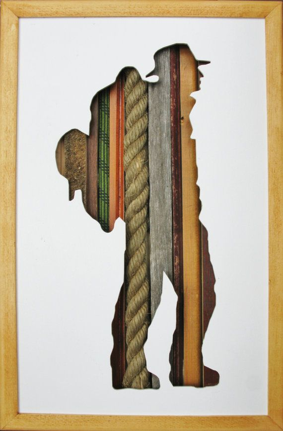 "Hiker Silhouette - 17"" by 11"" www.behindthewoods.ca #hiker #outdoors #woodart"
