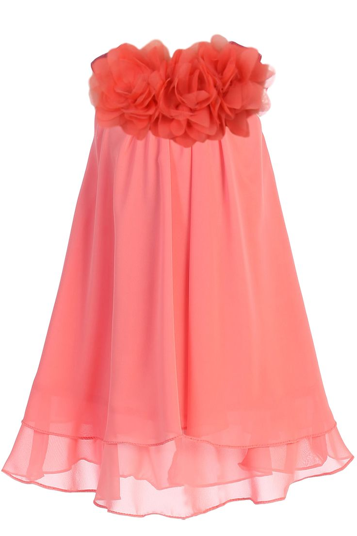 A Girl's Lovely Coral Chiffon Knee Length Shift Dress with a Two Tier Layer Hemline, Satin Yoke and 3 Mesh Flowers at the Neckline. Girls Sizes: 2T, 3T/4T, 5/6, 7/8, 9/10, 11/12, 13/14 Kid's Dream Sty
