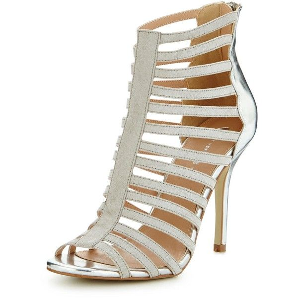 V By Very Jasmine Scalloped Caged Sandal (£13) ❤ liked on Polyvore featuring shoes, sandals, cage sandals, caged shoes, nude shoes, scalloped shoes and nude sandals