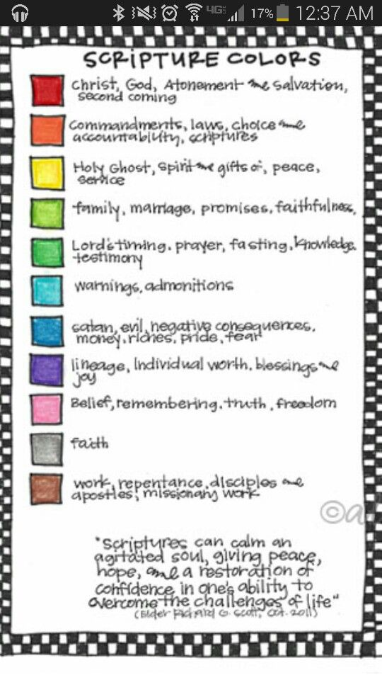 "Color Coding Scriptures! ""Scriptures can calm the agitated soul, giving peace, hope, and a restoration of confidence in ones ability to overcome the challenges of life."""