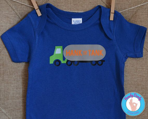 "This adorable tee is exactly what your rowdy little Henry needs. Our made-to-order shirt features a tanker truck artwork with the phrase Hank the Tank in orange on a royal blue onesie bodysuit or t-shirt.  All of our products are made to order with a professional heat press. If you'd like a different color combination (see image showing our options), include that info in the ""notes to seller"" section when you are making your purchase, otherwise shirt will be created as pictured.  Be sure to…"