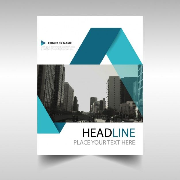 Geometric brochure with blue ribbons Free Vector