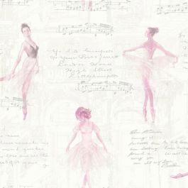 Pirouette Ballet Ballerina Wallpaper Pink - Arthouse 668200  This beautiful Pirouette Wallpaper features delicately painted ballerinas floating beautifully across the design. The wallpaper is also highlighted with glitter accents for added sophistication. The soft pink and cream tones and subtle silver glitter used in this wallpaper create an elegant look meaning it could be used to decorate a whole room or to create a feature wall. A beautiful ballet themed wallpaper Non-transferable…