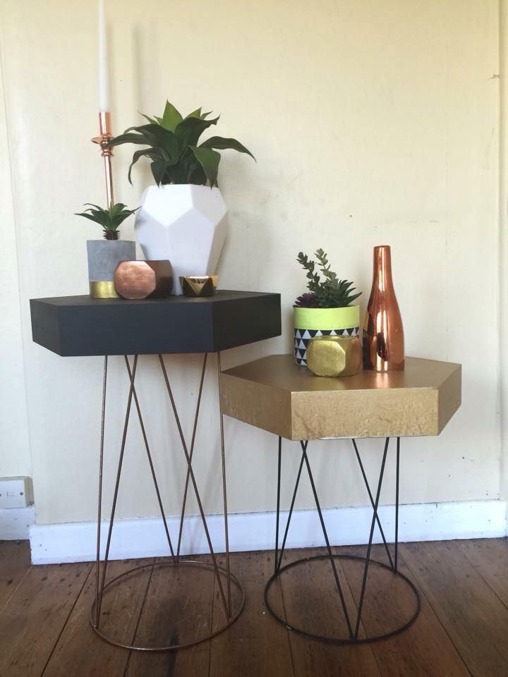 Kmart Plant stands and hexagon shelf unit - Turned into side tables! #KmartHack