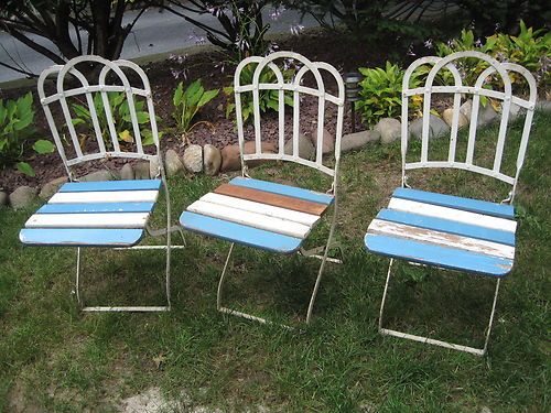 3 French Iron & Wood Folding Garden Chairs  $199.99