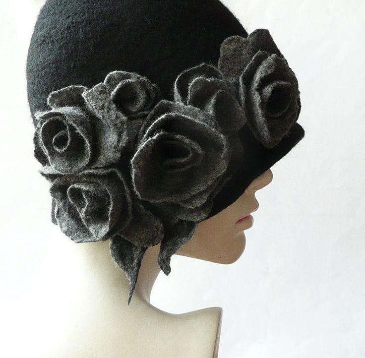 Black Felted Hat felt hat Cloche Hat Fapper 1920 Hat Art Black Hat Cloche Victorian 1920's Wool Women's hat grey roses by Feltpoint on Etsy