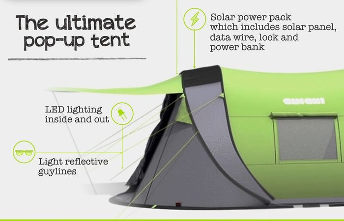 Cinch Next Generation Pop-up Tent Includes Solar Power And LED Lights - The Cinch! is packed with top-quality clobber, like superflex fibreglass poles, LED tent pegs and lanterns, luminous guylines and a repair kit. It's double-skinned for your protection with an outer layer that's three times the industry standard for waterproofing, and there's a thick raised groundsheet to keep you cosy. | Geeky Gadgets