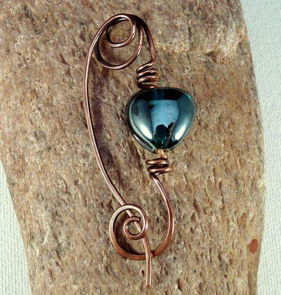 Scarf Shawl Pin. Copper Wire Fibula.  Teal Glass by JayelleJewelry, $23.00