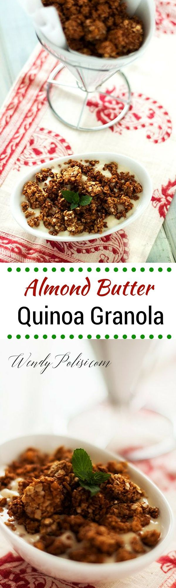 Almond Butter Quinoa Granola - This gluten free and vegan granola is the perfect healthy way to start your day!  PLUS --> Learn how you can score a jar of Justin's Almond Butter Free!