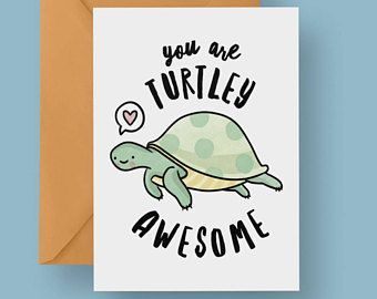 You Are Turtley Awesome Valentines Card, Funny Greetings Card - Funny Valentines, Turtle Card, Turtle Valentines Card, Turtles Card