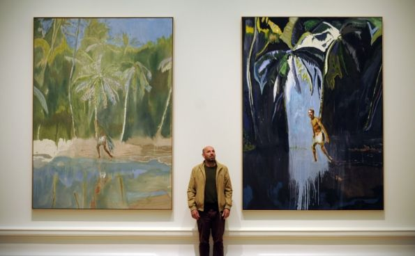 Artist Peter Doig visiting his Edinburgh exhibition.