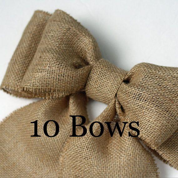 Burlap Pew Bows 10 Natural Burlap Large by CottonRidgeEmporium