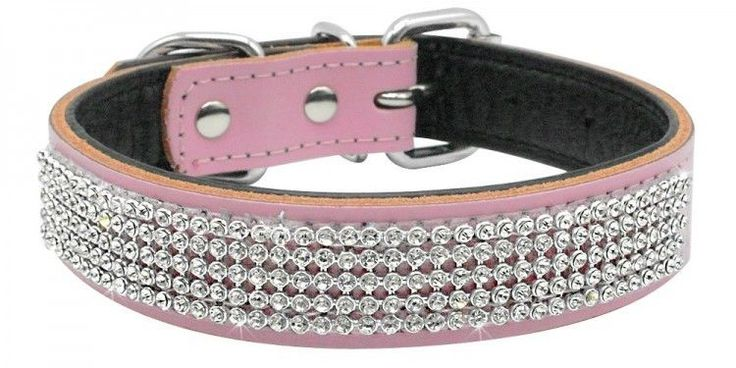 Pink Dog Collar Genuine Leather With Crystal Diamonds Pet Show & Daily Walking #OpportunityBestDealDogCollar