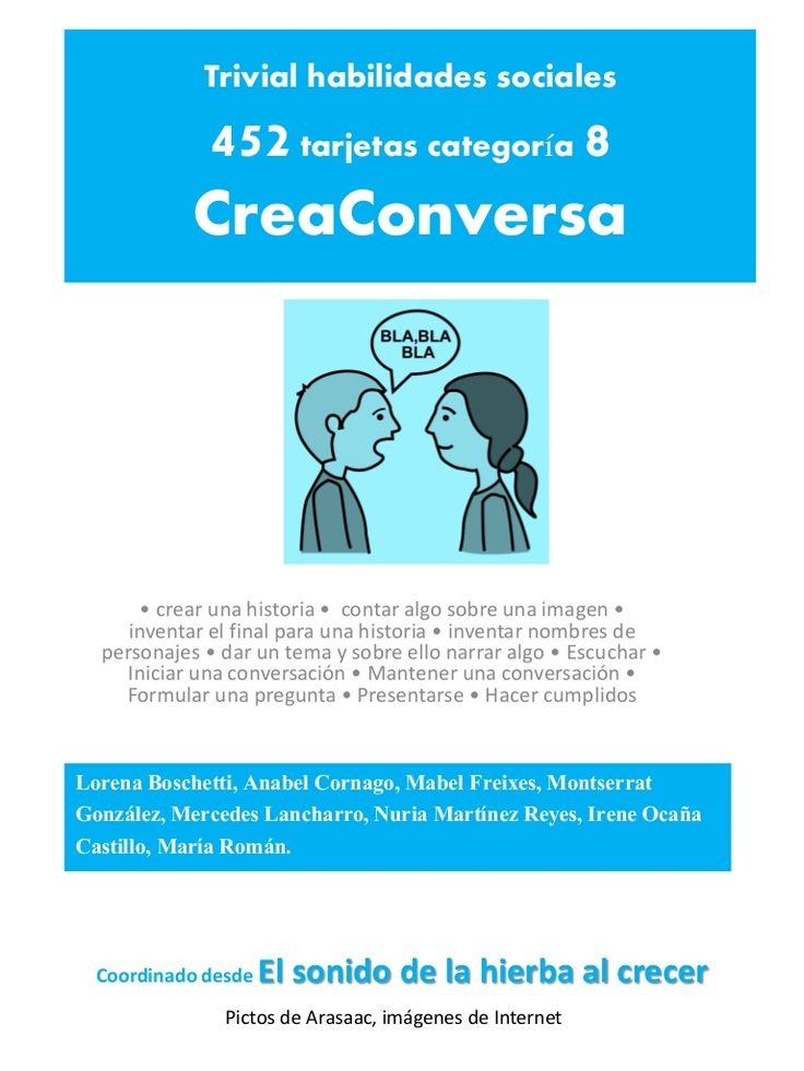 Conversación - Tarjetas de habilidades Sociales de Anabel Cornago via slideshare