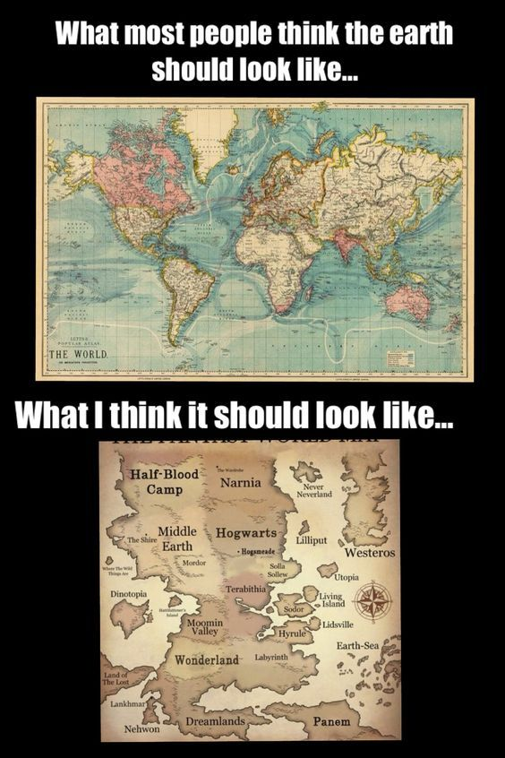 World vs fictional world. Hunger Games, Percy Jackson, Harry Potter, Lord of the Rings, Chronicles of Narnia, Alice in Wonderland, Peter Pan, Etc.: