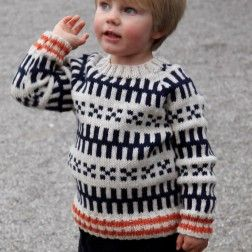 Mads Nørgaard drengetrøje, hvidt m blåt mønster
