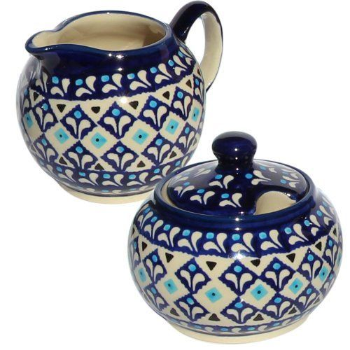 Polish Pottery Sugar Bowl and Creamer From Zaklady Ceramiczne Boleslawiec 694711217a Classic Pattern Sugar Bowl Height 37 Creamer Height 34 <3 Details on product can be viewed by clicking the image