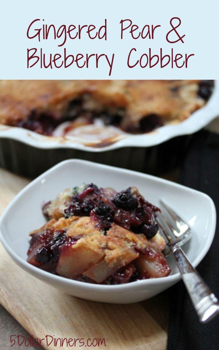 Gingered Pear and Blueberry Cobbler | 5DollarDinners.com