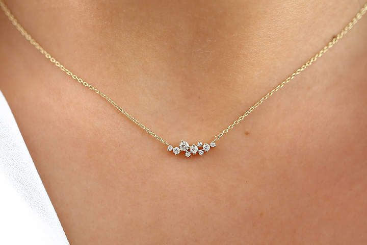 Cluster Necklace in 14k Gold / Diamond Cluster Necklace / Unique Diamond Layering Necklace / Diamond Necklace / Memorial Day