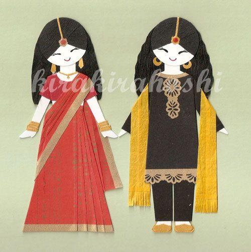 INDIAN GIRL in Sari and Salwar Kameez Paper Doll Card Topper (Set of 2)