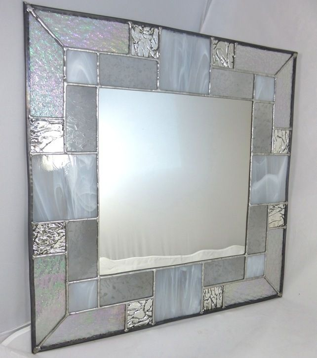 Stained Glass Mirror with White and Transparent Glass MTO