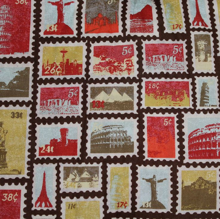 Postage Stamp Fabric 100% Cotton Quilt Apparel Craft World Traveler Vacation Road Trip Retro Vintage Stamps by JacobandChloesLLC on Etsy