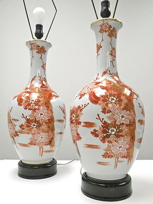 Pair Japanese Kutani Porcelain Lamps Hollywood Regency Mid