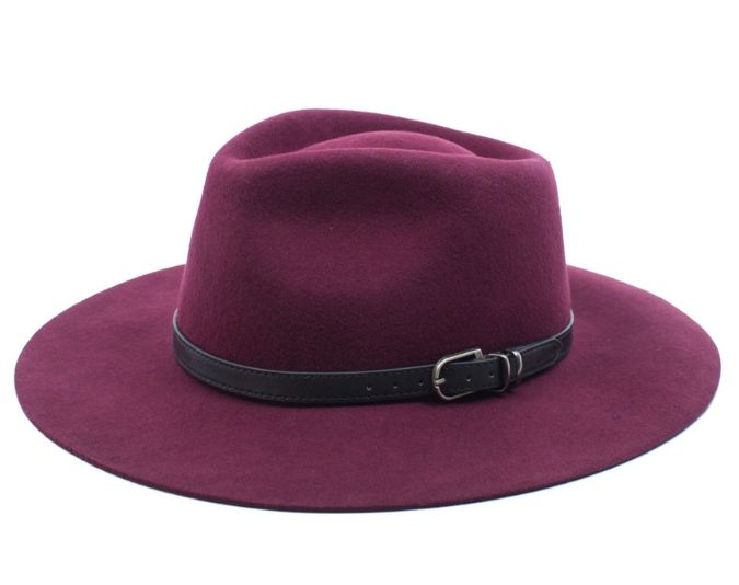 Feminine hats with leather detailing help create a put-together look.