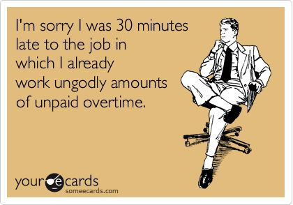 someecards.com - I'm sorry I was 30 minutes late to the job in which I already work ungodly amounts of unpaid overtime.