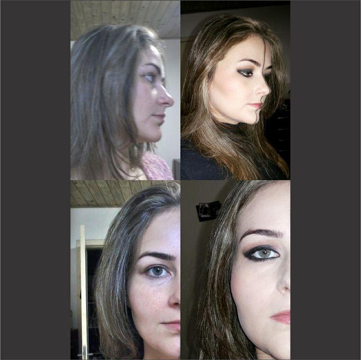 Hemiface antes e depois da aplicação de airbrush.