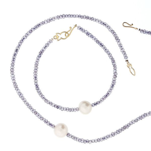 The Brigitte - Iolite : Elegant! This is the finishing touch to any outfit. Our 'single' pearl collections have been a customer favourite for 17 years. Featuring iolite and 12mm cultured white freshwater pearl. Pearl necklace, gifts for her, bridal jewelry, Australian designer, jewelry design