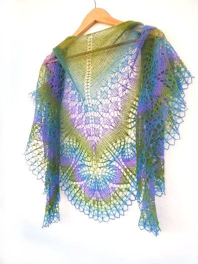 Lilac hand knit lace shawl purple blue green by KnittyStories
